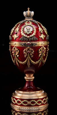 A 14K Vari-Color Gold, Guilloché Enamel, Diamond, and Cabochon-Mounted Standing Egg with Elephant-Form Surprise i...