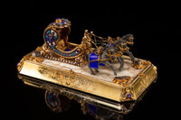 A Continental Gilt Silver, Enamel, and Gem-Mounted Horse-Drawn Sleigh, probably Hungarian, circa 1975 3-3/4 x 1-1/
