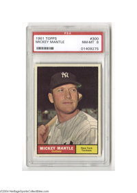 Baseball 1961 Topps Mickey Mantle #300 PSA NM-MT 8. This was one of the hottest cards in the summer of '61, as the man w...