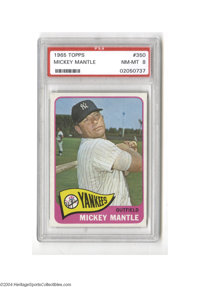 Baseball 1965 Topps Mickey Mantle #350 PSA NM-MT 8. All the gloss and sharp cornering you'd expect from a brand new card...