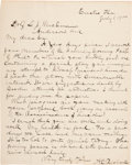 Autographs:Military Figures, Abraham Lincoln Assassination Related Letter To Surratt House Boarder Louis Weichmann.. ...
