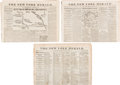 Military & Patriotic:Civil War, Civil War: New York Herald Newspapers with Battle Maps.. ...