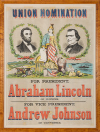 "Lincoln & Johnson: Awesome, Mammoth 41"" x 54"" 1864 Jugate Campaign Poster"