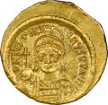 Ancients:Byzantine, Ancients: Justinian I the Great (AD 527-565). AV solidus (21mm, 4.37 gm, 6h). NGC MS 5/5 - 2/5, graffito, clipped....