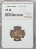 1858 1C Small Letters MS63 NGC. NGC Census: (195/369). PCGS Population: (230/467). CDN: $1,050 Whsle. Bid for problem-fr...