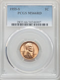 Lincoln Cents: , 1955-S 1C MS66 Red PCGS. PCGS Population: (7567/533). NGC Census: (12125/3037). CDN: $20 Whsle. Bid for problem-free NGC/PC...