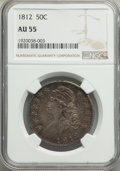 Bust Half Dollars: , 1812 50C Large 8 AU55 NGC. NGC Census: (70/304). P...