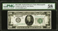 Fr. 2050-I $20 1928 Federal Reserve Note. PMG Choice About Unc 58