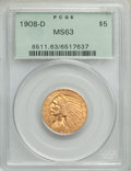 1908-D $5 MS63 PCGS. PCGS Population: (1382/417). NGC Census: (957/487). CDN: $800 Whsle. Bid for problem-free NGC/PCGS...