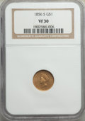 Gold Dollars, 1856-S G$1 Type Two VF30 NGC. NGC Census: (3/212). PCGS Population: (2/183). CDN: $830 Whsle. Bid for problem-free NGC/PCGS...