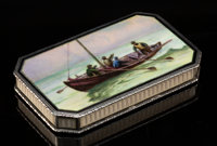 An Austrian Partial Gilt Silver and Guilloché and Painted Enamel Box, Vienna, circa 1925 Marks: (1-hoopoe-W) 3/...