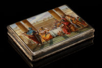 An Austrian Partial Gilt Silver and Guilloché and Painted Enamel Box, circa 1910 Marks: BF, STERLING
