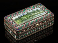 A Mikhail Fyodorovich Sokolov Partial Gilt Silver and Cloisonné and Painted Enamel Snuff Box, Moscow, 1894 Marks:...