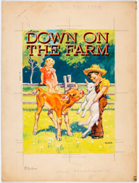 Down on the Farm Storybook Cover Illustration Original Art (Samuel Lowe Company, 1943)