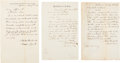Military & Patriotic:Civil War, Henry Wager Halleck. Three Autograph Letters Signed.. ...