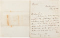 Autographs:Military Figures, British Ambassador Lord Richard Lyons Writes Foreign Minister Earl Russell. . ...