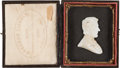 Political:3D & Other Display (pre-1896), Abraham Lincoln: Cased Mourning Profile.. ...
