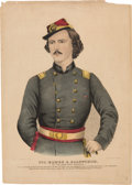 Military & Patriotic:Civil War, Civil War: Colorful and Rare Print of Col. Elmer Ellsworth.. ...