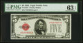 Fr. 1525* $5 1928 Legal Tender Note. PMG Choice Uncirculated 63 EPQ