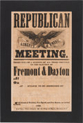 Political:Posters & Broadsides (pre-1896), John C. Fremont & William L. Dayton: A Very Rare 1856 Broadside for the First Republican Presidential Candidate.. ...