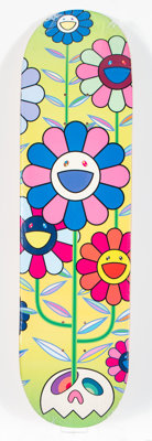 Takashi Murakami X Complex Con Flower Cluster, 2019 Offset lithograph in colors on skate deck 32