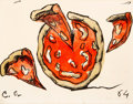 Fine Art - Work on Paper:Print, Claes Oldenburg (b. 1929). Flying Pizza, from New York Ten, 1964. Lithograph in colors on wove paper. 17 x 22-1/4 in...