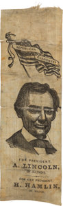 Political:Ribbons & Badges, Abraham Lincoln: Beardless Portrait Ribbon. . ...