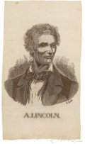 Political:Ribbons & Badges, Abraham Lincoln: Beardless Portrait Ribbon.. ...
