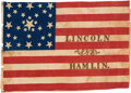 Political:Textile Display (pre-1896), Abraham Lincoln: Very Distinctive Parade Flag with Bold Colors.. ...