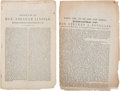 Political:Small Paper (pre-1896), Abraham Lincoln & Stephen Douglas: Lincoln Speech While Running For The Senate 1858 And Douglas On Dred Scott Decision. . ... (Total: 2 Items)