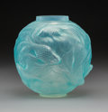 Glass, R. Lalique Formose Opalescent Glass Vase with Blue Patina, circa 1924. Marks: R. LALIQUE. 7-1/8 inches (18 c...