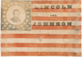 Political:Textile Display (pre-1896), Abraham Lincoln & Andrew Johnson: Extremely Rare and Important 1864 Campaign Flag Banner.. ...