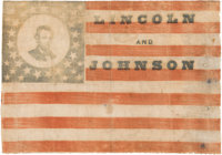 Abraham Lincoln & Andrew Johnson: Extremely Rare and Important 1864 Campaign Flag Banner