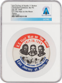 "Apollo 11: ""Epic Journey of Apollo 11"" Original Pinback Button Directly From The Armstrong Family Collection™..."