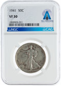 Explorers:Space Exploration, Coins: 1941 50¢ VF30 NGC Walking Liberty Half Dollar Directly From The Armstrong Family Collection™, CAG Certified. ...