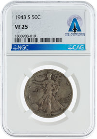 Coins: 1943-S 50¢ VF25 NGC Walking Liberty Half Dollar Directly From The Armstrong Family Collection™, CAG Certifie...