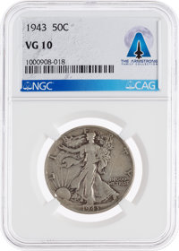 Coins: 1943 50¢ VG10 NGC Walking Liberty Half Dollar Directly From The Armstrong Family Collection™, CAG Certified...