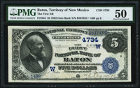 Raton, NMT - $5 1882 Date Back Fr. 533 The First National Bank Ch. # (W)4734 PMG About Uncirculated 50
