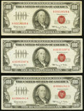 Fr. 1550 $100 1966 Legal Tender Notes. Three Examples. Very Fine. ... (Total: 3 notes)