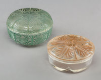 R. Lalique Coquilles and Coty Covered Glass Boxes with Patina, circa 1920 Marks: LALIQUE; COTY, P... (Total: 2 Items)
