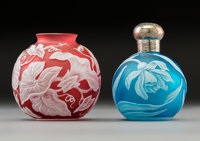 Thomas Webb & Sons Overlay Glass Miniature Vase and Silver-Mounted Perfume Bottle, circa 1900 2-1/2 x 2 x 2 inches...