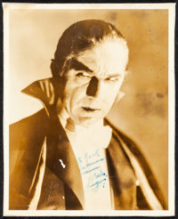 "Bela Lugosi in Dracula (Universal, 1931). Fine-. Autographed Portrait Photo (8"" X 10""). Horror"
