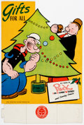 Memorabilia:Poster, Popeye the Sailor Christmas Retail Display Sign Group of 2 (King Features Syndicate and Puck the Comic Weekly... (Total: 2 Items)
