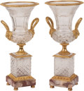 Decorative Accessories, A Pair of Neoclassical-Style Gilt Bronze-Mounted Cut Glass Urns. 18-1/2 x 9 x 8 inches (47.0 x 22.9 x 20.3 cm) (each). ... (Total: 2 )