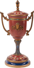 Metalwork, A Beaux Arts Champlevé Enamel Covered Urn. 23 x 12 x 8-1/2 inches (58.4 x 30.5 x 21.6 cm). ...
