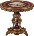 Furniture, A Louis XVI-Style Gilt Bronze and Porcelain Gueridon. 30-1/2 x 33 inches (77.5 x 83.8 cm). ...