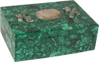 A Malachite Box with Inset Jade Plaque 4-1/4 x 11-1/2 x 8 inches (10.8 x 29.2 x 20.3 cm)
