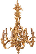 Lighting:Chandeliers, A Louis XV-Style Gilt Bronze Nine-Light Chandelier After a Model by Jean-Jacques Caffieri. 32 x 23-1/2 x 23-1/2 inches (81.3...