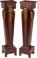 Furniture, A Pair of Neoclassical-Style Gilt Bronze-Mounted Mahogany Pedestals. 45-1/2 x 10-3/4 inches (115.6 x 27.3 cm) (each). ... (Total: 2 )