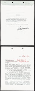 """Movie Posters:Miscellaneous, John Cassavetes Legal Agreement & Other Lot (1968). Very Fine. Signed Legal Documents (4) (8.5"""" X 11"""" & 10"""" X 15""""). M..."""